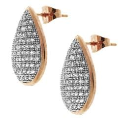 Sterling Silver Cubic Zirconia Pave Tear Drop Earring - Thumbnail 1