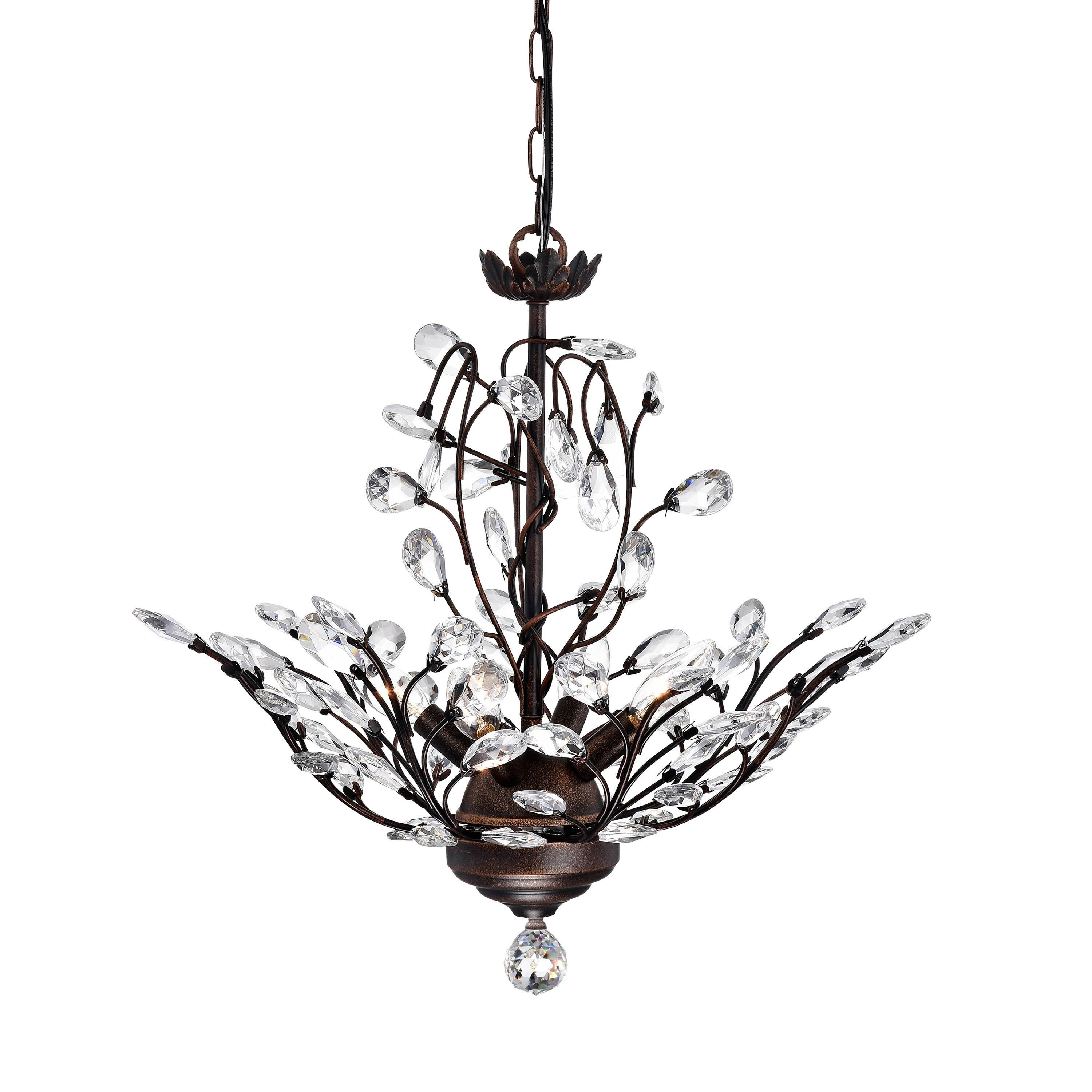 Holly 4-light Antique Copper Crystal Leaves Chandelier (4...