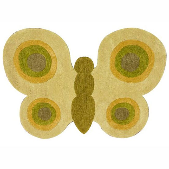 nuLOOM Handmade Kids Butterfly Green Rug (3' x 4'3)