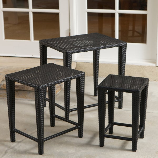 Outdoor Black Wicker Nested Tables (Set of 3) by Christopher Knight Home