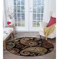 Alise Rugs Infinity Transitional Paisley Round Area Rug - 5'3 x 5'3