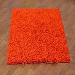 Hand Woven Shagadelic Orange Chenille Shag Rug 2 5 X 4 6