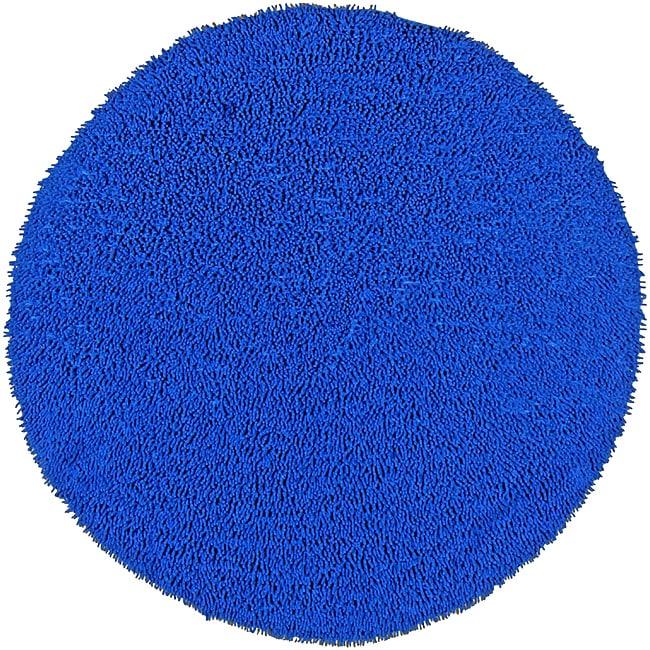 Hand Woven Shagadelic Neon Blue Chenille Round 3 X 3