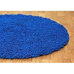 Hand Woven Shagadelic Neon Blue Chenille Round (3' x 3') - Thumbnail 1