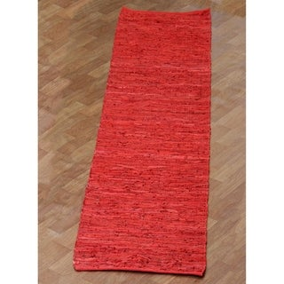"Hand-woven Matador Red Leather Runner Rug (2'6 x 12') - 2'6"" x 12'"