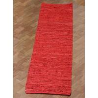 Hand-woven Matador Red Leather Runner Rug (2'6 x 12') - 2'6 x 12'