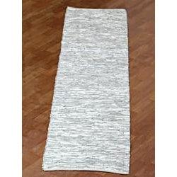 Hand Woven Matador White Leather Runner Rug 2 6 X 12
