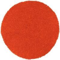 Hand-woven Shagadelic Orange Chenille Rug (5' Round) - 5' x 5'