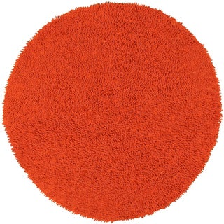 Hand-woven Shagadelic Orange Chenille Rug (3' Round)