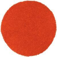 Hand-woven Shagadelic Orange Chenille Rug (3' Round) - 3' x 3'