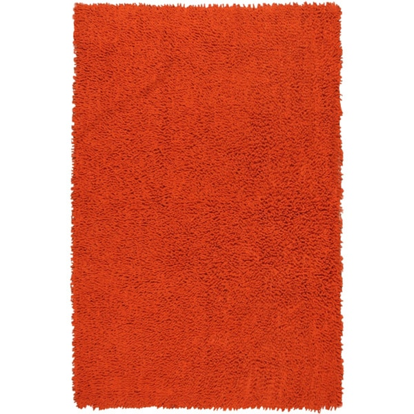 Hand-woven Shagadelic Orange Chenille Rug (4' x 6')