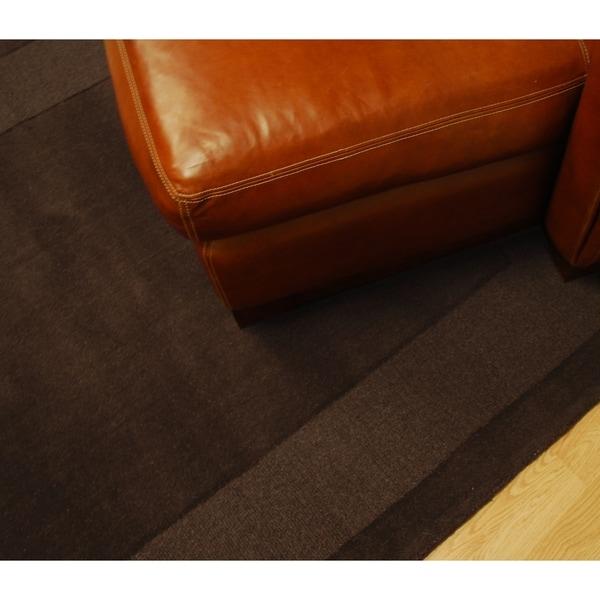 Hand Tufted Chocolate Border Wool Rug 6 X27