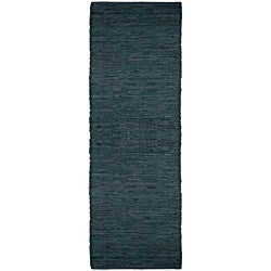 Hand-woven Matador Black Leather Runner Rug (2'6 x 12')