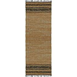 Hand-woven Matador Tan Leather Runner Rug (2'6 x 12')