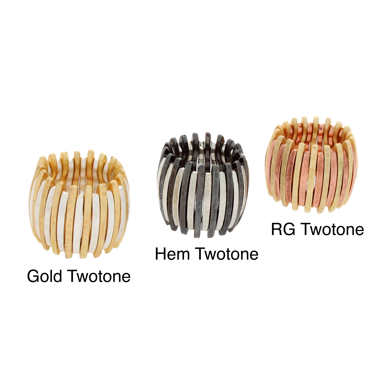Nexte Jewelry Two-tone Rail Stretch Ring (RG Twotone Ting...