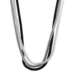 Journee Collection Base Metal Triple Strand Mesh Chain Necklace - Thumbnail 1