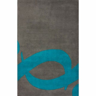 nuLOOM Handmade Swirl Grey Wool Rug (7'6 x 9'6)