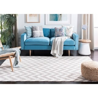 Safavieh Hand-woven Moroccan Reversible Dhurrie Chevron Grey/ Ivory Wool Rug (4' x 6')