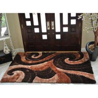 EverRouge 3D Poly Silk Swirl Area Rug - 5' x 8'