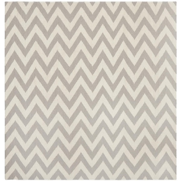 Safavieh Hand-woven Moroccan Reversible Dhurrie Chevron Grey/ Ivory Wool Rug (6' Square)