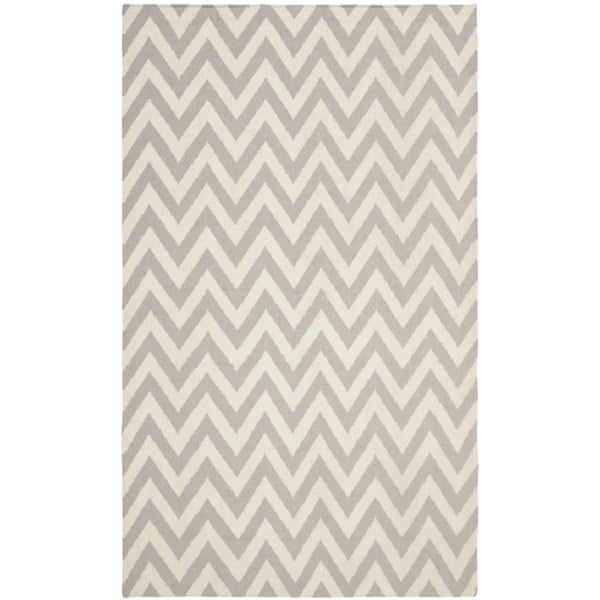 Safavieh Hand-woven Moroccan Reversible Dhurrie Chevron Grey/ Ivory Wool Rug (8' x 10')