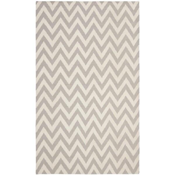 Safavieh Hand-woven Moroccan Reversible Dhurrie Chevron Grey/ Ivory Wool Rug (5' x 8')
