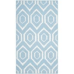 Safavieh Hand-woven Moroccan Reversible Dhurrie Blue/ Ivory Wool Rug (3' x 5')