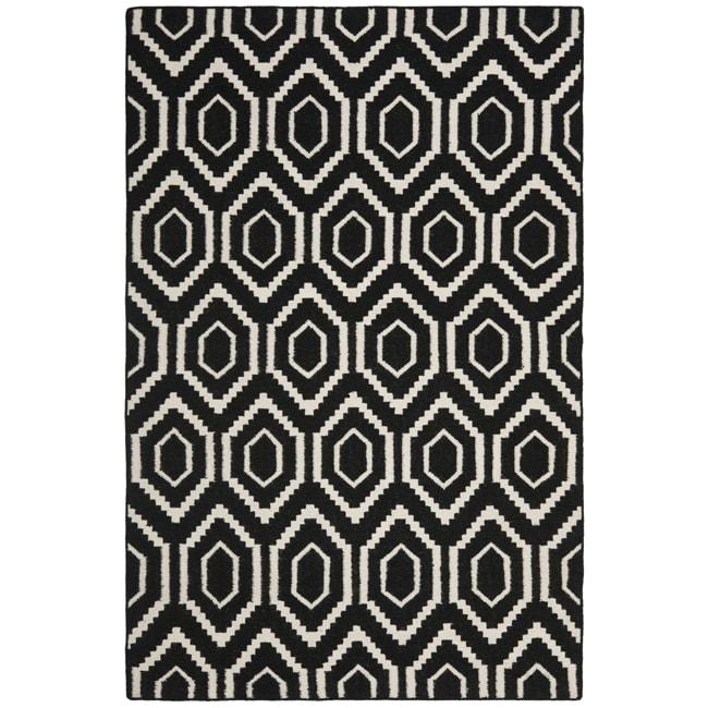 Safavieh Moroccan Reversible Dhurrie Black Ivory Geometric