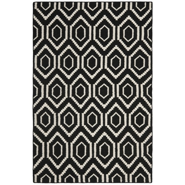 Black And White Geometric Rugs For Sale: Safavieh Moroccan Reversible Dhurrie Black/Ivory Geometric