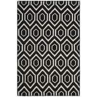 Safavieh Contemporary Moroccan Reversible Dhurrie Black/Ivory Wool Rug - 5' x 8'