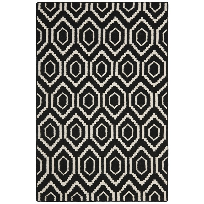 Safavieh Contemporary Moroccan Reversible Dhurrie Black/Ivory Wool Rug (5' x 8')