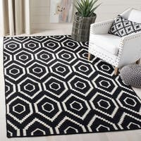 Safavieh Contemporary Moroccan Reversible Dhurrie Black/Ivory Wool Rug - 5' x 8'