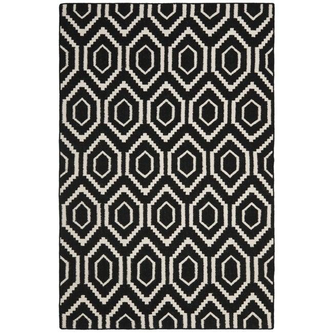 Safavieh Moroccan Reversible Dhurrie Black Ivory Wool Area Rug 4 X27