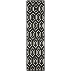 Safavieh Transitional Handwoven Moroccan Reversible Dhurrie Black/ Ivory Wool Rug (2'6 x 12')