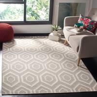 Safavieh Moroccan Reversible Dhurrie Grey/Ivory Indoor Wool Rug - 9' x 12'