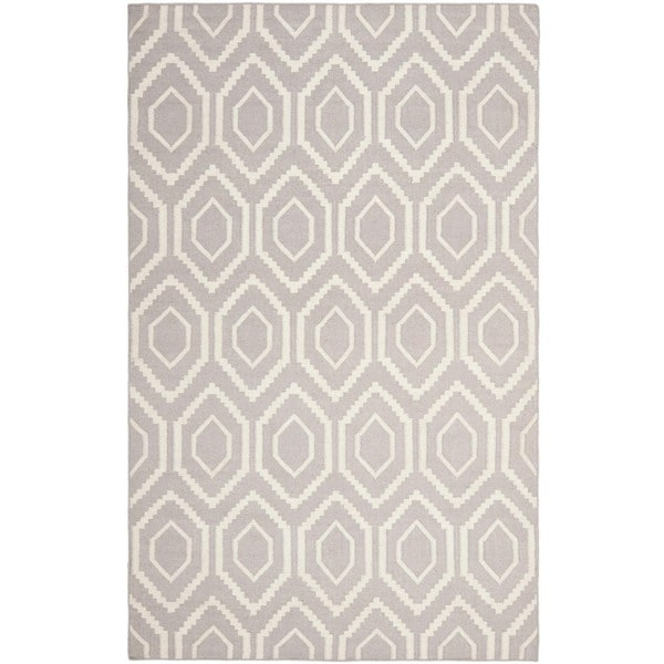 Safavieh Moroccan Reversible Dhurrie Transitional Grey/Ivory Wool Rug (5' x 8')