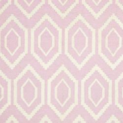 Safavieh Hand-woven Moroccan Reversible Dhurrie Pink/ Ivory Wool Rug (4' x 6')