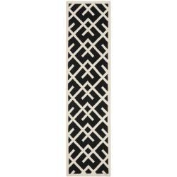 Safavieh Hand-woven Moroccan Reversible Dhurrie Black/ Ivory Wool Rug (2'6 x 10')