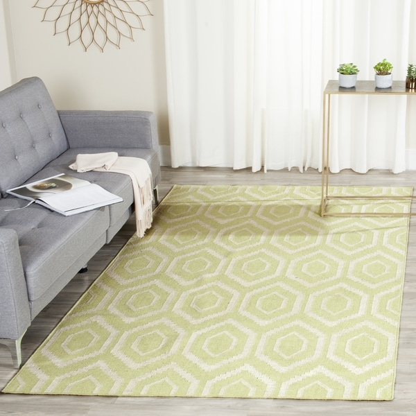Safavieh Hand-woven Moroccan Reversible Dhurrie Green/ Ivory Wool Rug (9' x 12')