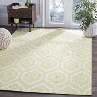 Safavieh Hand-woven Geometric Moroccan Reversible Dhurrie Green/ Ivory Wool Rug (3' x 5')