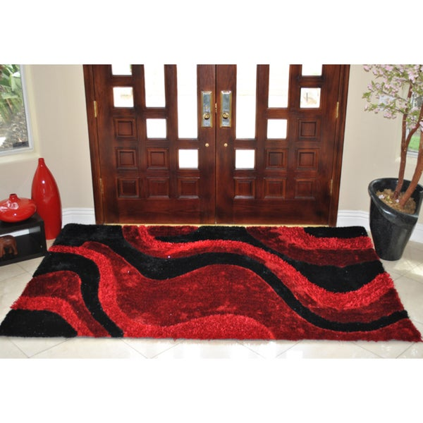 EverRouge Burgundy 3D Poly Silk Area Rug - 5' x 8'