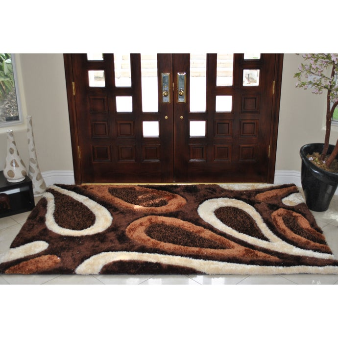 EverRouge Feather 3D Poly Silk Area Rug (5'x8') (5x8), Br...