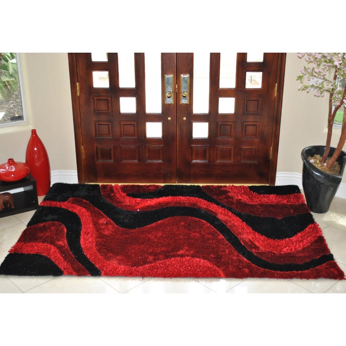 EverRouge 3D Poly Silk Red Area Rug (8'x10') (8x10), Size...