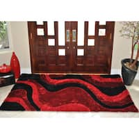 EverRouge 3D Poly Silk Red Area Rug - 8' x 10'