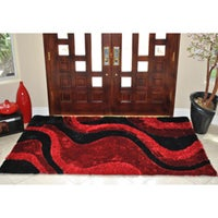 Everrouge Poly Silk Red Area Rug 8 X 10