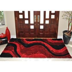 Elegant EverRouge 3D Poly Silk Red Area Rug (8u0027x10u0027) ...