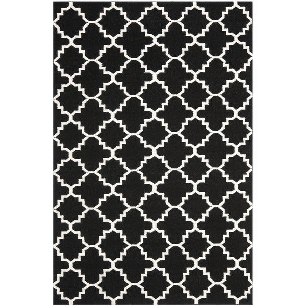 Safavieh Moroccan Reversible Dhurrie Transitional Black/Ivory Wool Rug (6' x 9')