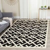 Safavieh Hand-woven Moroccan Reversible Dhurrie Black/ Ivory Wool Rug - 9' x 12'
