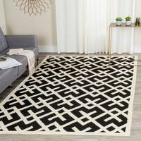 Safavieh Moroccan Reversible Dhurrie Black/Ivory Indoor Wool Rug - 8' x 10'
