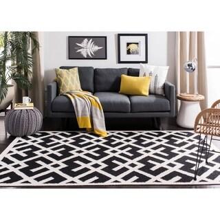Safavieh Hand-woven Moroccan Reversible Dhurrie Black/ Ivory Wool Rug (6' x 9')